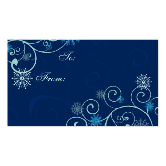 Merry Christmas Blue Snowflakes Gift Tags Business Card