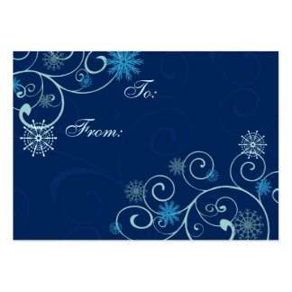 Merry Christmas Blue Snowflakes Gift Tags Large Business Card