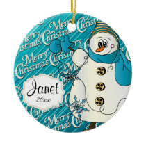 Merry Christmas Blue Snowman Ceramic Ornament