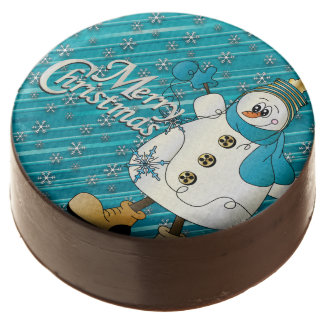Merry Christmas Blue Snowman Chocolate Dipped Oreo