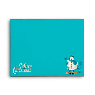 Merry Christmas Blue Snowman Envelope