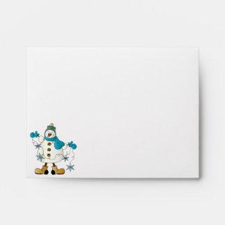 Merry Christmas Blue Snowman Envelopes