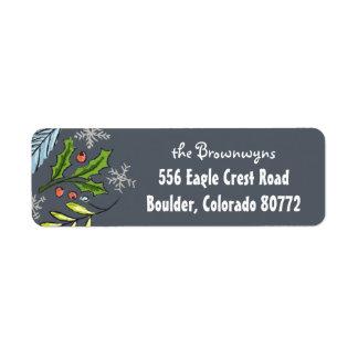 Merry Christmas Blue Spruce Boughs Return Label