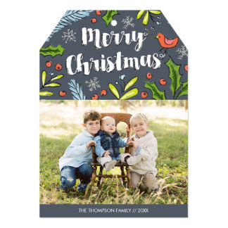 Merry Christmas Blue Spruce Photo Holiday Card