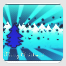 Merry Christmas - Blue Square Sticker at Zazzle