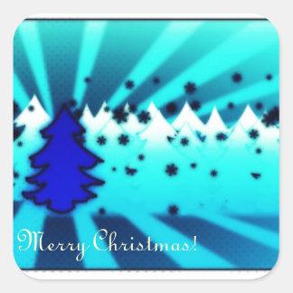 Merry Christmas - Blue Square Sticker