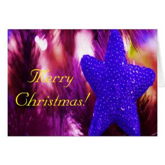 Merry Christmas Blue Star Greeting Card