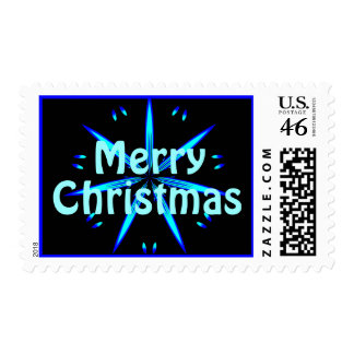 Merry Christmas Blue Star Postage 1
