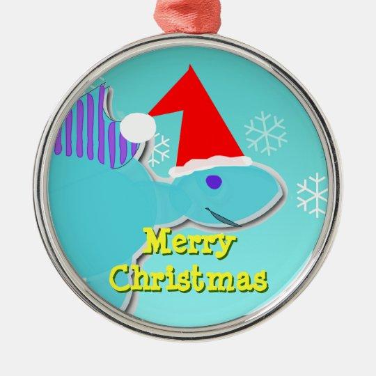 Merry Christmas Blue Stegosaurus Dino Ornament
