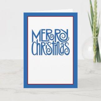 Merry Christmas blue text Card card