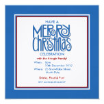 "Merry Christmas blue Theme Party Invitation 5.25"" Square Invitation Card"