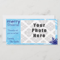 Merry Christmas Blue Themed Snowflake Holiday Card