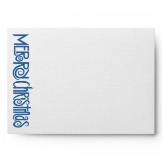 Merry Christmas blue white A7 Envelope envelope