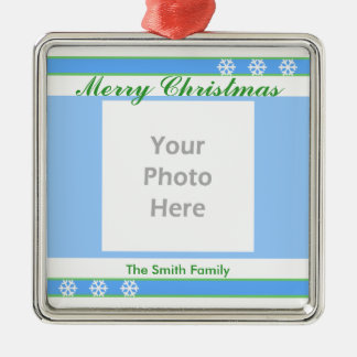 Merry Christmas Blue, White, Green (photo frame) Metal Ornament