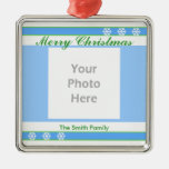 Merry Christmas Blue, White, Green (photo frame) Christmas Tree Ornaments