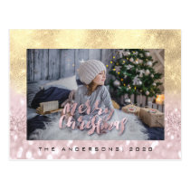 Merry Christmas Blush FauxGold Spark Photo Glitter Postcard