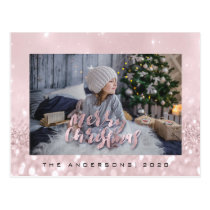 Merry Christmas Blush Gold Spark Photo Glitter Postcard