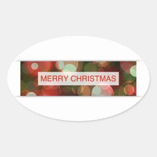 merry christmas (bokeh) oval sticker