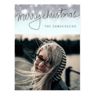 Merry Christmas Bokeh Script Modern Photo Postcard