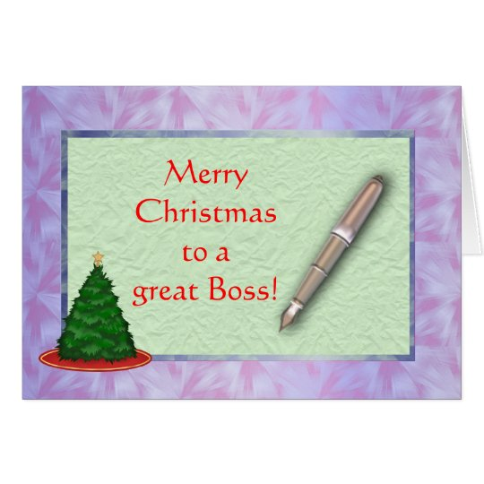 Merry Christmas Boss Christmas card with pen