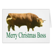 Merry Christmas Boss Limousin Bull Card