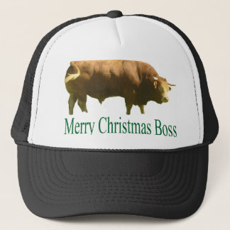 Merry Christmas Boss Limousin Bull Trucker Hat