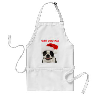 Merry Christmas Boston Santa Apron