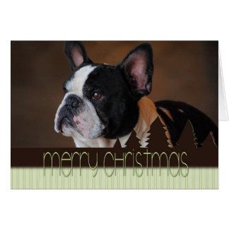 Merry Christmas Boston Terrier Dog Card