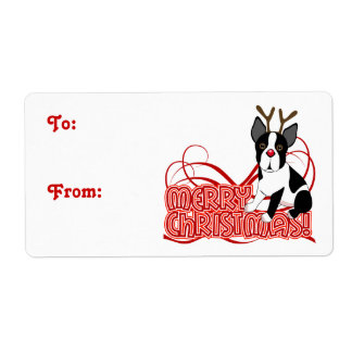 Merry Christmas Boston Terrier Label