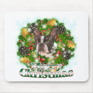 Merry Christmas Boston Terrier Mouse Pad
