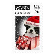 Merry Christmas Boston Terrier Postage
