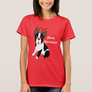 Merry Christmas! Boston Terrier Reindeer Dog T-Shirt