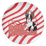 Merry Christmas Boston Terrier Reindeer Plate