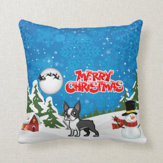 Merry Christmas Boston Terrier With A Snowman Throw Pillow
