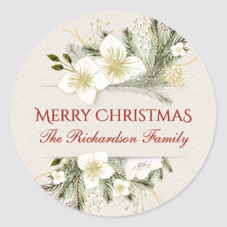 Merry Christmas Botanical Floral Bouquet Holiday Classic Round Sticker