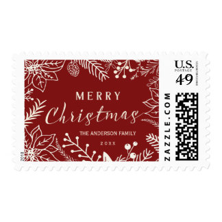 MERRY CHRISTMAS BOTANICAL FOLIAGE RED AND WHITE STAMPS