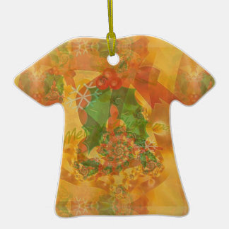 Merry Christmas Bow Double-Sided T-Shirt Ceramic Christmas Ornament