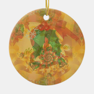 Merry Christmas Bow Double-Sided Ceramic Round Christmas Ornament