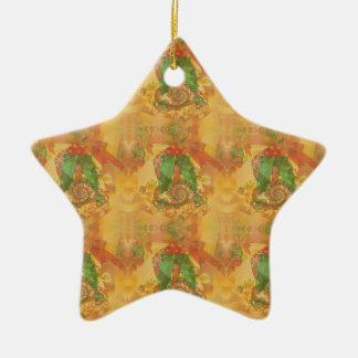 Merry Christmas Bow Double-Sided Star Ceramic Christmas Ornament