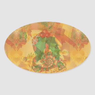 Merry Christmas Bow Oval Sticker