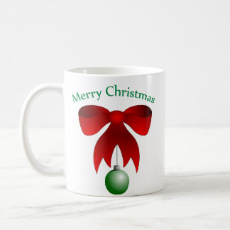 Merry Christmas bow with green ornament mug