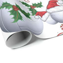 Merry Christmas Bowling Ball Santa Wrapping Paper
