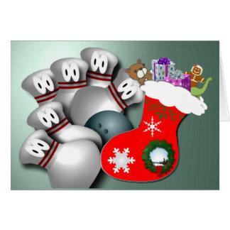 Merry Christmas Bowling Greetings Greeting Card
