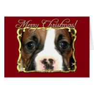 Merry Christmas boxer puppy greeting card