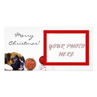 Merry Christmas Boxer puppy photocard Custom Photo Card