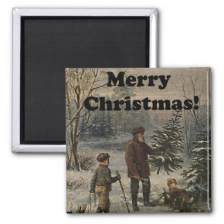 Merry Christmas Boy Father Christmas Tree Drawing Magnet