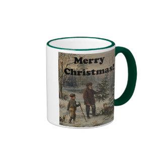 Merry Christmas Boy Father Christmas Tree Drawing Ringer Coffee Mug