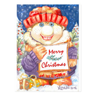 Merry Christmas Boy Postcard
