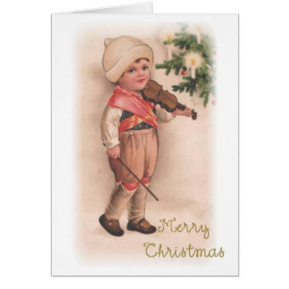 Merry Christmas Boy with Violin Greeting Card