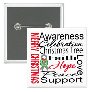 Merry Christmas Brain Cancer Ribbon Collage Pinback Buttons